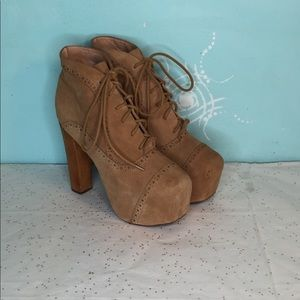 Jeffrey Campbell Lita Tan Lace up Ankle Boot - 7M